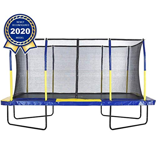 Upper Bounce 9' X 15' Gymnastics Style, Rectangular Trampoline Set with Premium Top-Ring Enclosure System - Blue/Yellow