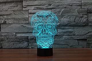 Fding Creative 3D 7 Color Changing Skull Night Light LED Bulb Lamp Bedroom Illusion Effect Lighting Home Decor (Skull 1)