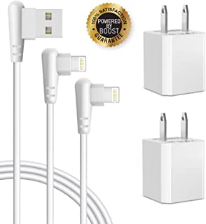 Boost+ Chargers, 2-Pack 10FT/3M Extra Long Travel Charger Cables Charging Data Cord with 2-Pack USB Wall Plug 5V Power Cube Adapter Compatible with Apple iPhone, iPod Mobile Digital Device
