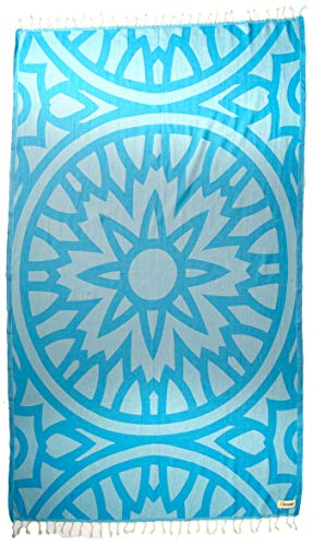 Bersuse Collection du Designer GOTS – Certifié Coton Bio à 100% - Flamenco Serviette Turque - Drap de Bain, Serviette de Plage, Fouta Peshtemal - 95 x 175 cm, Aqua