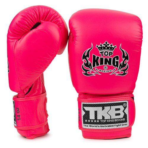 Top King - Guantes de Boxeo con Doble Cerradura, Color Rosa neón, Color Rosa neón, tamaño 39,8 cl
