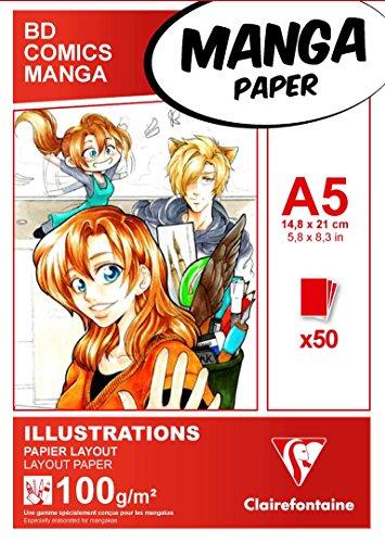 Clairefontaine 94041C Bloc Encollé Papier Manga et Illustration - 50 Feuilles Papier Dessin Blanc Extra Lisse A5 14,8x21 cm 100g - Papier idéal pour le Dessin au Feutre à Alcool
