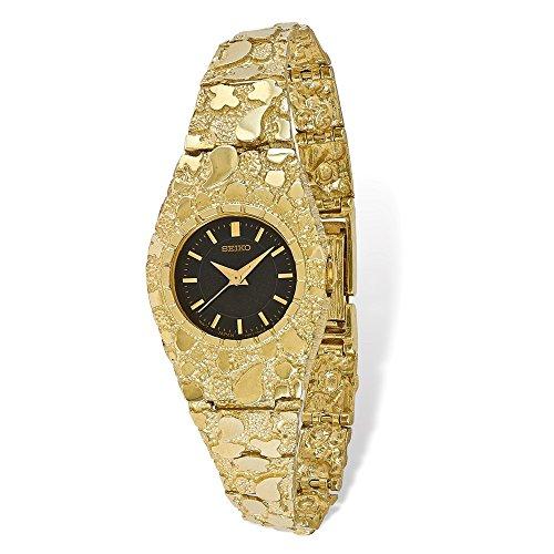 Bella Oro Giallo 10K 10k Nero 22mm Quadrante Nugget Watch