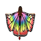Kfnire Mariposa Alas Chal para Mujer Niña y Niños, Duendecillo para Mujer Chicas Capa de Muchacha Accesorio para Disfraz Playa Fiesta (A#01)