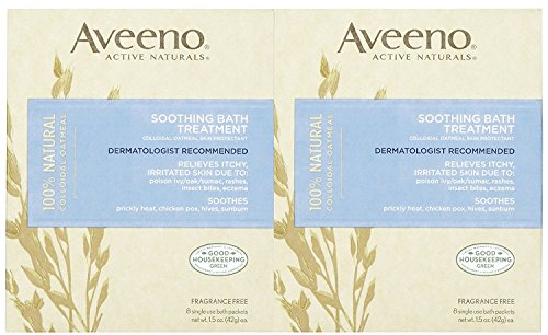 Aveeno Soothing Bath Treatment, Fragrance Free, 8 ct, 2 pk