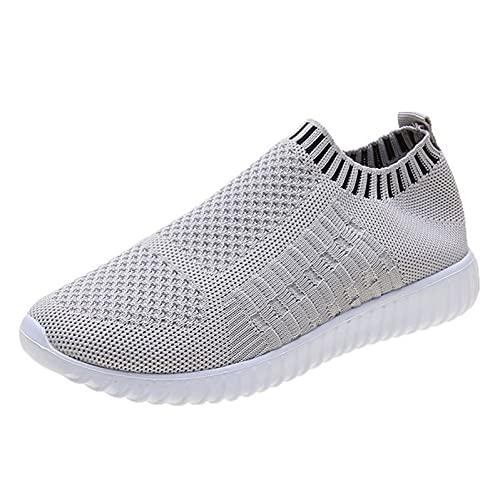 Calzado de Gimnasia para Mujer Calzado Plano de Punto Transpirable Calzado Deportivo Correr Caminar Zapatillas mocasín Correr Tenis de caña Baja Transpirable