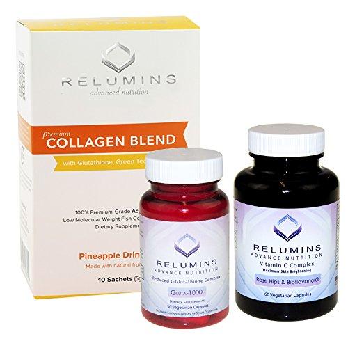 NEW! Relumins Premium Collagen, Glutathione and Vitamin C!! Summer Glow Set!!! (Pineapple)