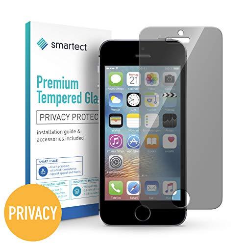 smartect Privacy Beschermglas compatibel met iPhone SE / 5 / 5s / 5c [Privacyscherm] - screen protector met 9H hardheid - bubbelvrije beschermlaag - antivingerafdruk kogelvrije glasfolie