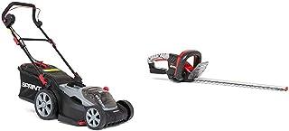 Sprint 18V Cortacésped Litio, 370P18V, 37cm, Incluyendo 1 x 5Ah Batería y Cargador + Cortasetos 18V Litio-Ion Q18HT, 51 cm, sin batería