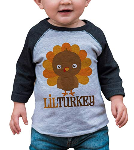 7 ate 9 Apparel Baby Boy's Little Turkey Thanksgiving 12 Months Grey Raglan