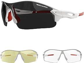 VeloChampion Warp montuur zonnebril (met 3 lenzen) fietsen, sport, wielersport vervangbaar, geel, helder, lens