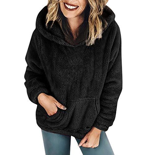 iHENGH Damen Winter Jacke Dicker Warm bequem Parka Mantel Kapuzenpulli Wolltaschen Baumwollmantel Outwear(EU-48/CN-XL,Schwarz)