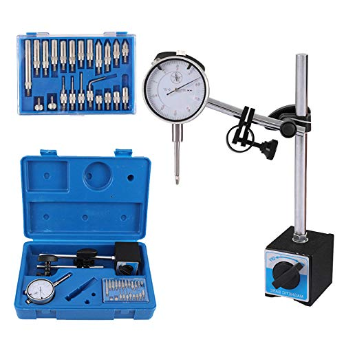 Dial Indicator with Magnetic Base Holder Fine Adjustable Long Arm 0-1' Tester Gage Gauge 0.001'