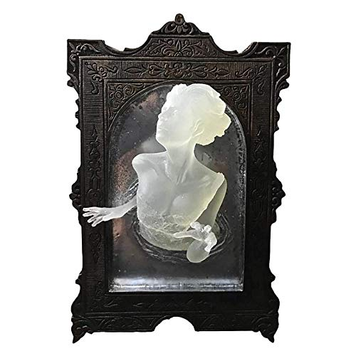 QIRU Ghost in The Mirror Wall Plaque, Glow in The Dark, 3D Resin Ghost Mirror Sculpture Art Wall Decor Hanging,Ghosts Emerging from Mirror Decoration for Living Room Bedroom (Women)