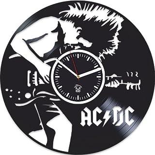 Kovides AC DC Vinyl Clock, ACDC Rock Band Music, Home Decals, Best Gift for Musician Boyfriend Vinyl Record, Vinyl Wall Cl...