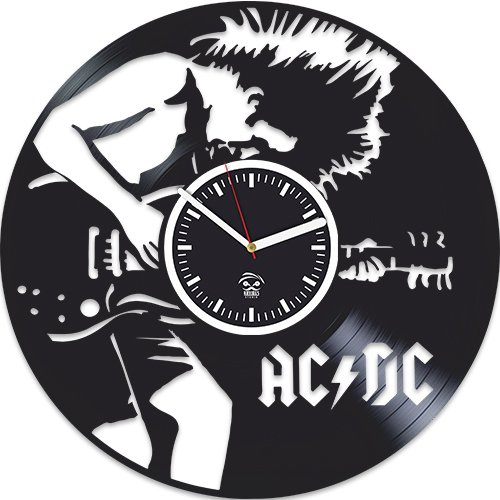 Kovides AC DC Vinyl Clock, ACDC Rock Band Music, Home Decals, Best Gift for Musician Boyfriend Vinyl Record, Vinyl Wall Clock, Silent Mechanism, Wall Clock Modern