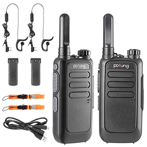 Walkie Talkie Recargable PMR Radio 16 Canales Batería 1500mAh Talkie walkie UHF Radio Portátil con Auriculares (T15 1)