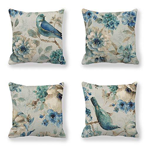 QXbecky Fundas de Cojines Pintura al óleo Azul pájaro y Flor Funda de Almohada Cuadrada de Lino 4 Piezas (sin núcleo) Funda de Almohada de Microfibra para decoración de sofá