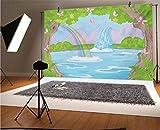 Telón de fondo de vinilo para niñas adolescentes de 5 x 3 pies, impresión de paisaje de hadas con cascada, mariposas, lago, fondo mágico para bebé, cumpleaños, boda, estudio, fotografía.