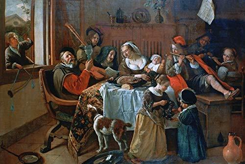 Karo-art - Schilderij - Vrolijk huisgezin, Jan Steen - Canvas - Muurdecoratie