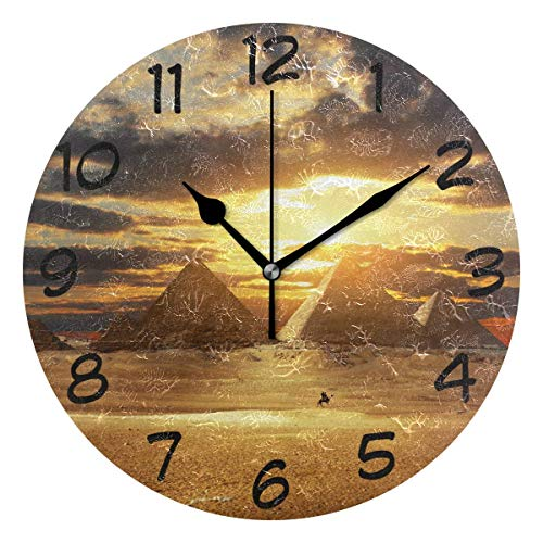 Nifdhkw Inspiration Travelling Wall Clock Silent Non Ticking Acrylic Decorative 10 Inch Round Clock for Home Office School