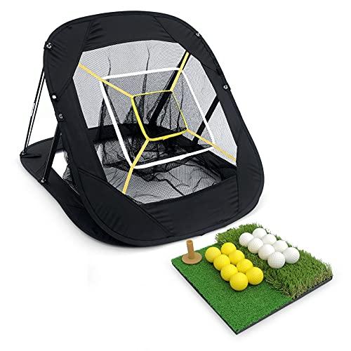 RAGECAMEL Golf Nets for Backyard Driving, Pop Up Golf Chipping Net, Golf Practice Nets for Backyard, with Dual Turf Hitting Mat(40mm Rough Turf & 10mm Fairway Turf), 16x Golf Balls