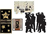 FAKKOS Hollywood Red Carpet Awards Ceremony Party Theme Supplies and Decorating Pack - 3 Items - Paparazzi Props, VIP Entrance Door Cover and Movie Theme Foil Swirls with Cutouts