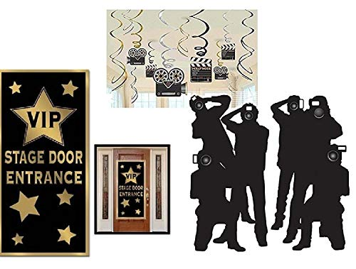 FAKKOS Design Hollywood Red Carpet Awards Ceremony Party Theme Supplies and Decorating Pack - 3 Items - Paparazzi Props, VIP Entrance Door Cover and Movie Theme Foil Swirls with Cutouts