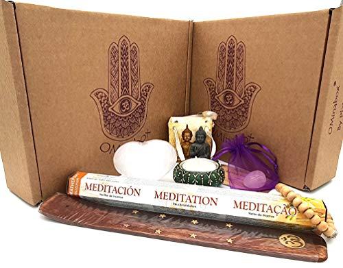 OMinabox Meditation Kit, Healing Crystals, Incense, Buddha, Candle & Worry Beads