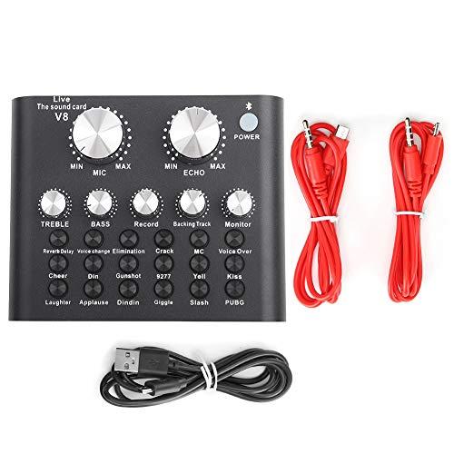 Scheda Audio Live Cambia Voce V8 Voice Change Mixer Audio con Guscio Metallico per Giochi per Computer, Versione Bluetooth
