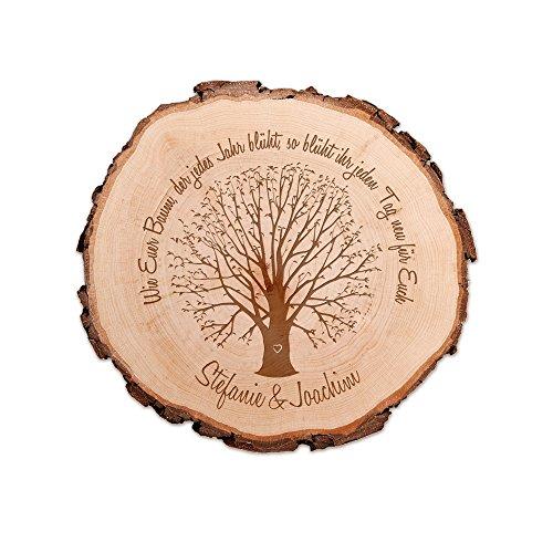 Casa Vivente Baumscheibe mit Gravur zur Hochzeit, Personalisiert mit Namen, Motiv Baum, Türschild und Dekoration, Hochzeitsgeschenke für Brautpaar