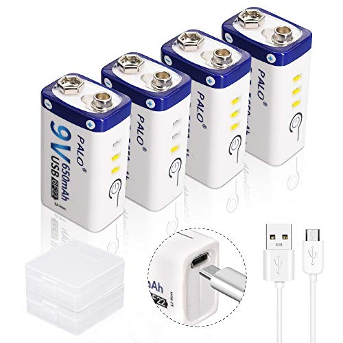 Palo 4-Pack USB 9V 650mAh Batería Recargable de ión de Litio con Cable USB para Teclado Micrófono Alarma de Humo Controles universales