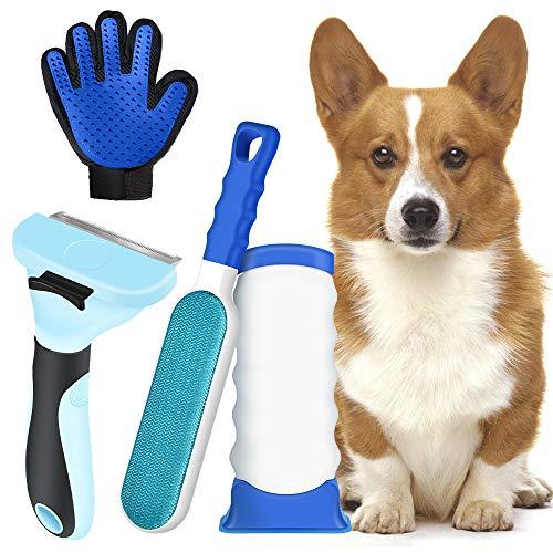 MS.DEAR Fusselbürste für Haustierhaa, Tierhaare Harkenkamm, Haustier Handschuh, DeShedding Tool für Hunde Katzen Zupfbürste, Praktischer Tierhaarentferner und Hundebürste Katzenbürste Fellpflege-3PCS
