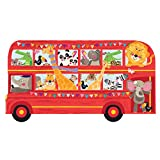 DECOWALL DA-1710C Transporte Autobús de dos pisos con Animales Vinilo Pegatinas niños Coche Decorativas Adhesiva Pared Dormitorio Salón Guardería Habitación Infantiles Niños Bebés