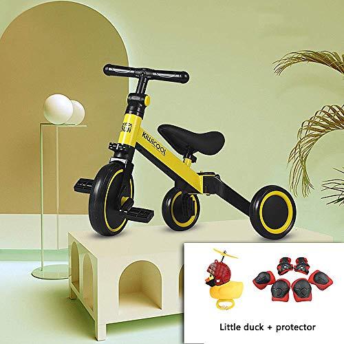 MZZG Triciclo de niños 3 en 1 para niños Triciclo de niños de 1-3 años Niños Niñas Bicicleta de Equilibrio para bebés 2 Ruedas para niños pequeños Triciclo con Equipo de protección y patitos,Amarillo