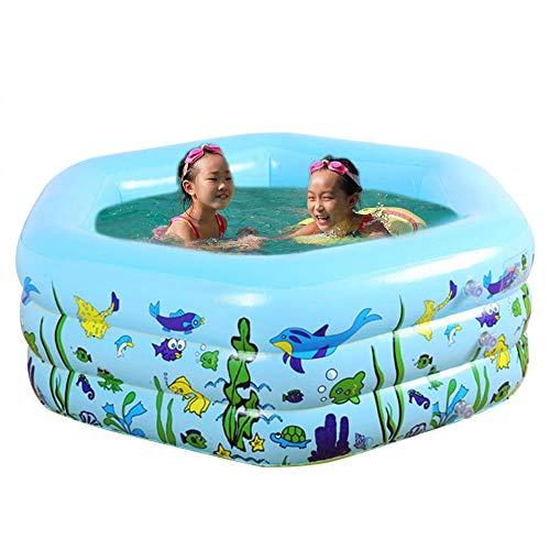 chlius Piscina inflable, 3 anillos de PVC hexagonal engrosamiento de piscina para niños, juguete de diversión acuática multiusos para niños 133 x 133 x 50 cm