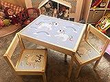 MakeThisMine Juego de escritorio de mesa y 2 sillas personalizables, diseño de unicornio, con texto en inglés 'Ikea LATT'