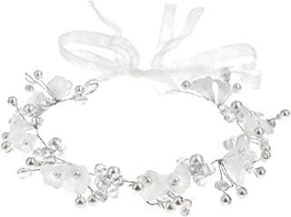Wedding Headband Bridal Hair Accessories Flower Girl Headpieces for Women and Girls Wedding Hair Vine Pearl Bridal Headpiece Crystal Flower Tiara for Party and Wedding (White)