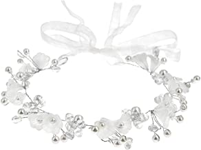 Wedding Headband Flower Girl Hair Vine Accessories Simulated Pearl Bridal Headpiece, Handmade Crystal Flower Tiara Design for Girls or Women, Suitable for Party and Wedding (White)