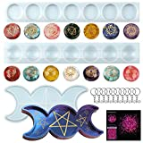 7 Chakra Stones Silicone Molds with Engraved Chakra Symbols,with Triple Moon Tray Epoxy Casting Resin Molds for DIY Necklace,Pendant,Ornament,Keychain,Jewelry Plate,Holder,Home Decoration,Crafts