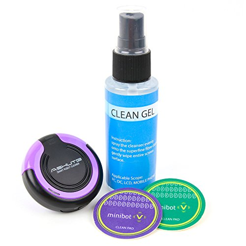 DURAGADGET LCD/LED Purple Screen Cleaning Robot w/Cleaning Solution & Vibrating Microfibre Pad - Compatible with The Leagoo Shark 1