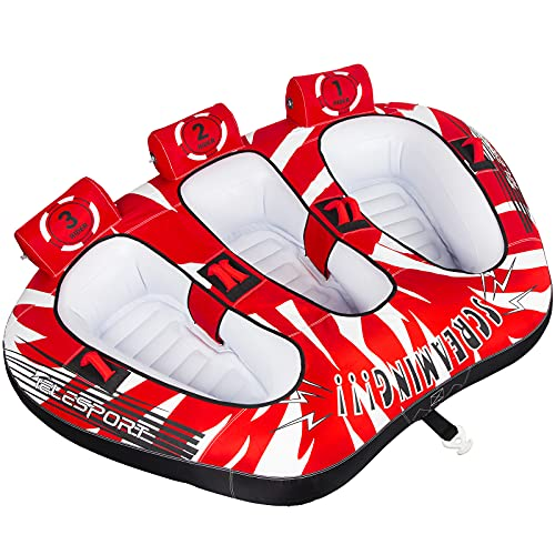 TELESPORT Inflatable Towable Tubes for Boats (red, 3-Rider)