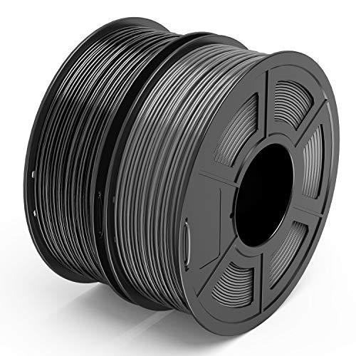 TECBEARS PLA 3D Printer Filament 1.75mm Black+ Gray, Dimensional Accuracy +/- 0.02 mm, 1 Kg Per Spool, Pack of 2