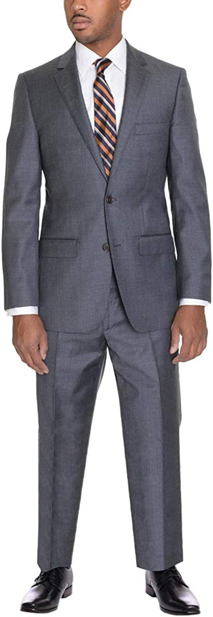 Zanetti Classic Fit Solid Heather Gray Two Button Wool Suit
