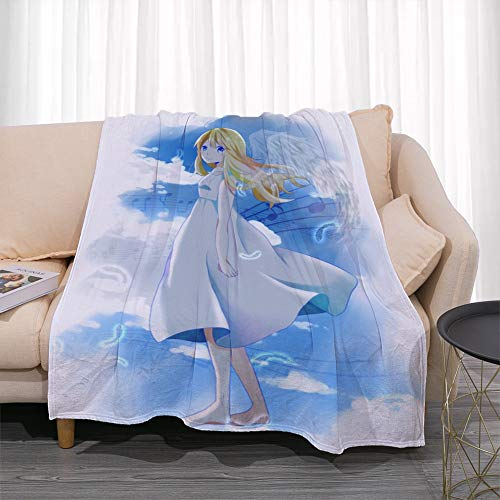 GUANGZHENG Il tuo Lie in April Serie Arima Kousei sotto Il Cielo Blu Pattern/Anime Blanket Personaggio/Facile da trasportare e Clean/Single-Sided Stampa Digitale/Adatto for Adulti e Bambini, O