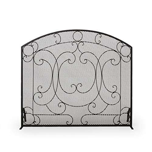 Best Buy! Christopher Knight Home Nydia Iron Fireplace Screen, Matte Black