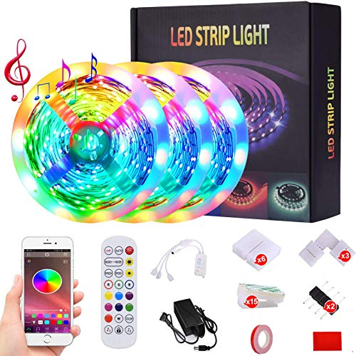 Led Lights,50ft Led Strip Lights Music Sync Color Changing 5050 RGB LED Light Strips Kit, Built-in Mic,App Control with Remote for Home Kitchen