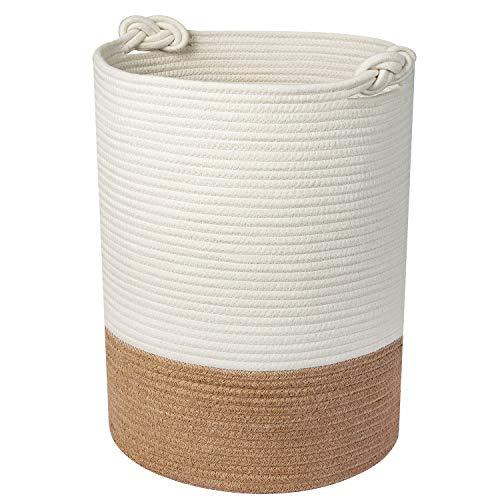 Cesta de Lino HB life Cesta de almacenaje de algodón tejido Cesta grande con asa, para niños Cesta de almacenaje de juguetes de lino sucio Decoración del hogar para lino sucio (46x36cm)