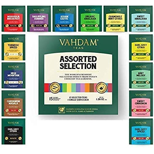 VAHDAM, Beste Teesortimente | 15 verschiedene Teebeutel - Vielfalt Pack Geschenk-Box | Bestes von Schwarztee, Grüntee, Oolong-Tee, Kräutertee & Chai-Tees | Master Blender Auswahl | Muttertagsgeschenk