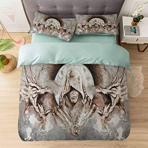 Duvet Cover Set, Monk Witch on Tree Branches Background Gothic Medieval Magic Artistic Gr, 1 Duvet Cover with 2 Pillowcases-Hypoallergenic, Easy Care, Soft and Durable, Grey Umber Brown